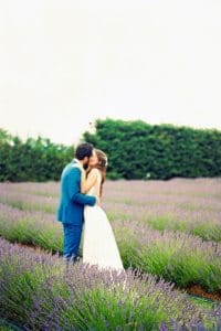 Bride and Groom in a lavander field